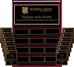 9x12 Employee Plaque Program High Gloss Rosewood Finish