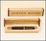 Engraved Tortoise Pen with Wooden Box