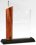 Wood Accent Optical Crystal Award