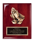 Rosewood High Gloss Finish Plaque With Metal Praying Hands 8