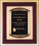 Mahogany Framed Plaque with Metal Accent T-P4139