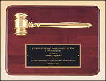 Mahogany Gavel Plaque with Metal Gavel