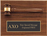 Alpha Chi Omega Plaque with Gavel