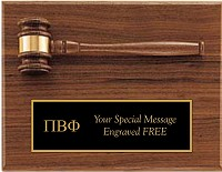 Pi Beta Phi Plaque with Gavel