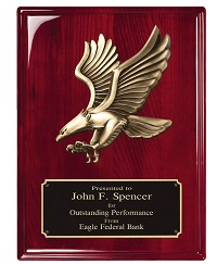 Rosewood High Gloss Finish Plaque With Metal Eagle