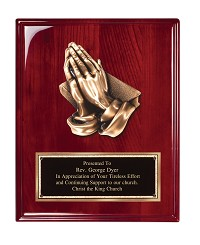 Rosewood High Gloss Finish Plaque With Metal Praying Hands