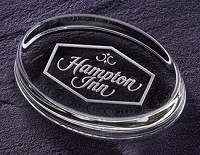 "Oval Engraved Glass Paperweight GG - 4""x3.5"""
