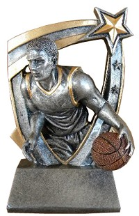 Full color resin basketball trophy