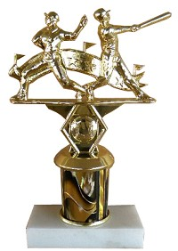 Baseball trophy with double action figure
