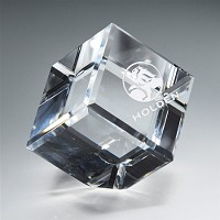 Cube Crystal Paperweight - MA - 2.5""