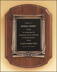 Classic Walnut Plaque With Metal Frame
