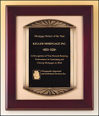 Mahogany Framed Plaque with Metal Accent