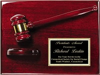 "Piano Finish Gavel Award Plaque 9""x12"""